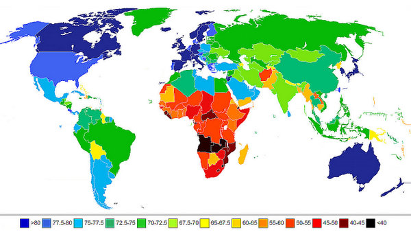 life expectancy chart worldwide